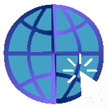 pixel art image of an internet globe with a mouse pointer clicking on it